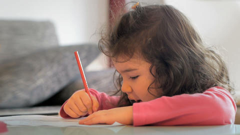 Child Coloring stock footage