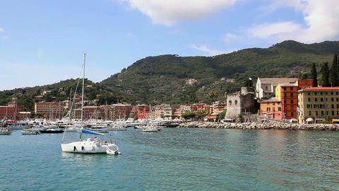 View of the harbor and the town of Santa Margherita Ligure, Italy on the sea in  Footage