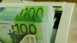 Money Counters and 100-Euro Banknotes Footage