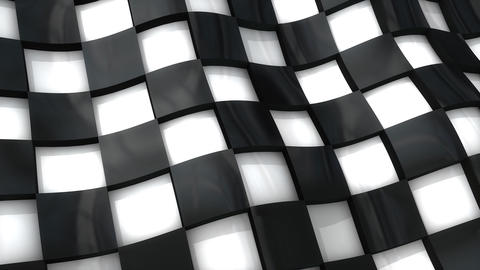 Checkered flag with 3D deep effect Animation