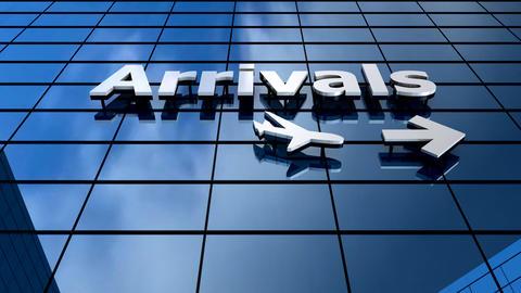 Airport Arrivals building blue sky timelapse Animation