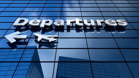 Airport Departures building blue sky timelapse Footage