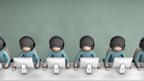 Call center concept animation. With alpha matte, Stock Animation
