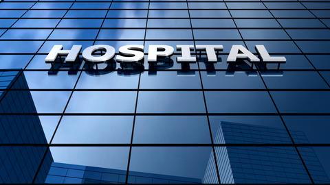 Hospital building blue sky timelapse Animation