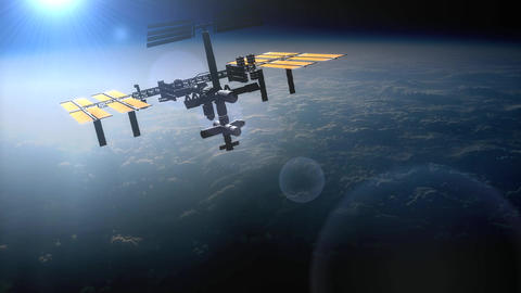 Artist Rendering, International Space Station Orbi stock footage
