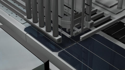 Artist rendering,Solar panel production assembly l Stock Video Footage