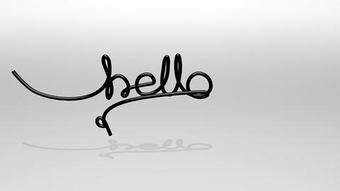 Wire Text Animation, Hello World stock footage