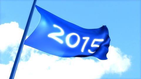 flag 2015 waving blue sky Animation