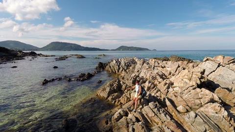 Rocks. Sea. Aerial Footage