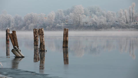 river foggy winter morning Footage