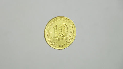 Anniversary Russian Coin. 10 Rubles. 4K stock footage