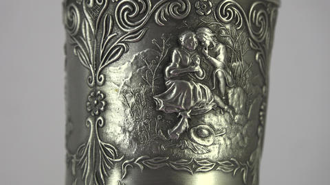 Silver Wine Cup. 4K stock footage