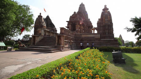 Fast Motion Shot Of A Temple, Khajuraho Temples, K stock footage