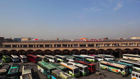 Pan Shot Of A Bus Stand, Amritsar, Punjab, India stock footage
