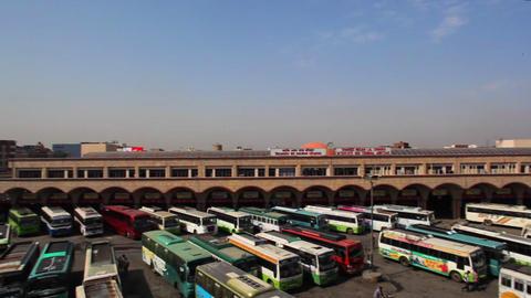 Pan Shot Of A Bus Stand, Amritsar, Punjab, India stock footage