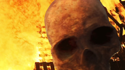 Skull Between Flames Scary Horror stock footage