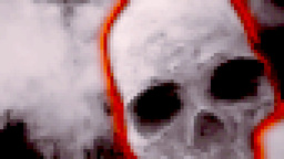 Skull red glow scary pixelated Footage