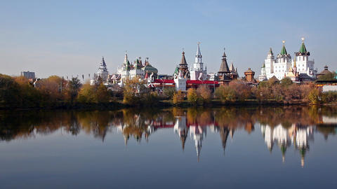 Izmaylovsky Kremlin Which Is Reflected In Water, P stock footage