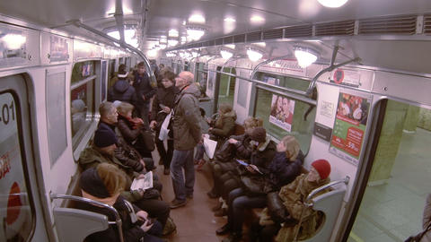 Passengers in the car subway train Footage
