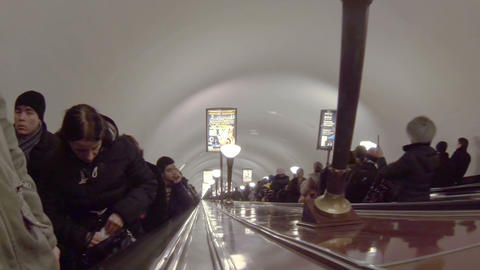 Escalator with people in the subway Footage