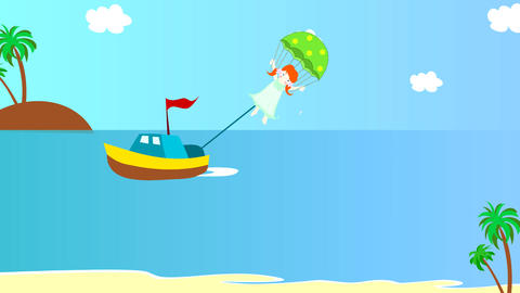 The boat pulls girl on a parachute over the sea, a Animation