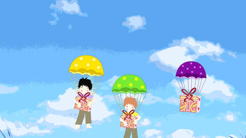 Jolly boys parachute with gifts, animation, cartoo Animation