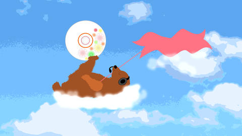 cute bear flies on a cloud in the headphones with  Animation