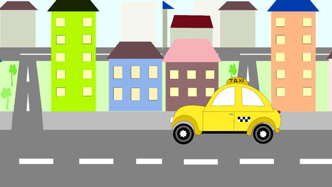 The yellow taxi rides around town, animation, cart Stock Video Footage
