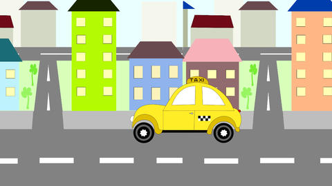 The yellow taxi rides around town, animation, cart Animation
