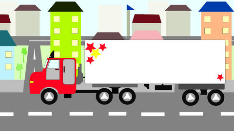 Big truck moving through the city, animation, cart Animation
