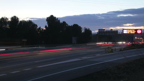 Highway Traffic Cars at Sunset Time Lapse 4k Footage