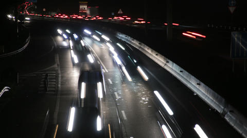 Highway Traffic Cars at Night Time Lapse Footage