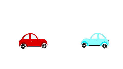 The accident, car accident two cars on a white bac Animation