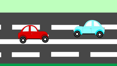 The accident, car accident two cars on the freeway Animation
