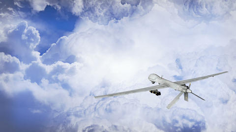Predator Drone Flying In The Clouds stock footage