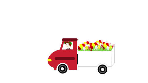 The truck rides and transporting flowers on a whit 애니메이션