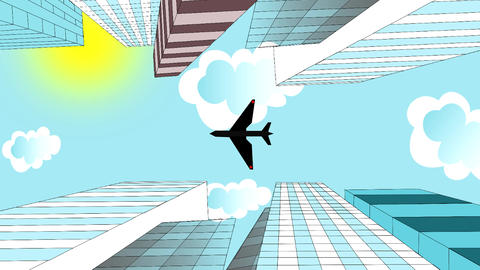 The airplane is flying in the sky over skyscrapers Animation