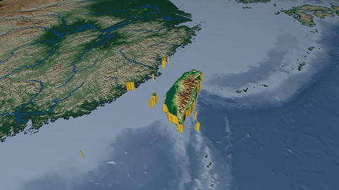 Taiwan extruded. Bumps shaded Animation