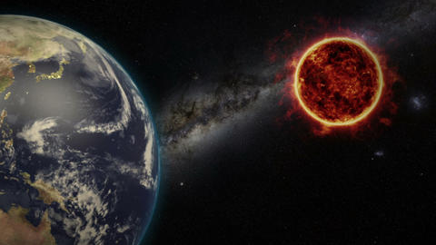 Sun And Earth Animation With Starfield Animation