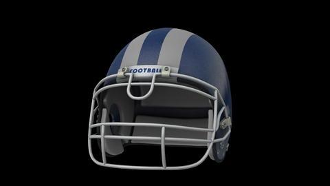 Football Helmet Blue Rotates Animation