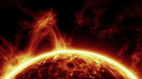 Sun Surface With Solar Flares Animation