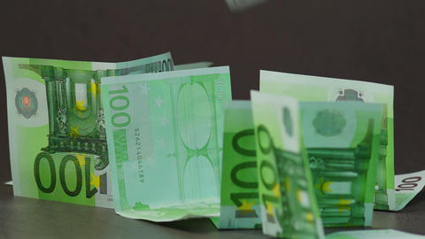 Falling Euro Banknotes Footage