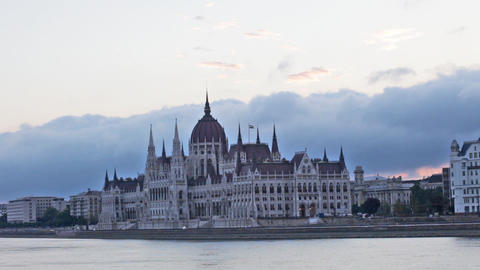 Parliament building in Budapest early in the morni Footage