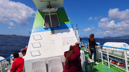 Ferry Going From Sao Jorge To Pico, Azores, Portug stock footage