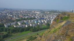4K Cityscape of Edinburgh from Hollyrood Park, Sco Footage