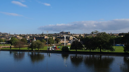Inverleith Pond and view of Edinburgh, Scotland Footage