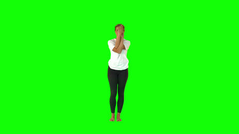 Slender Fit Woman Stretching Her Body Raising Her  stock footage