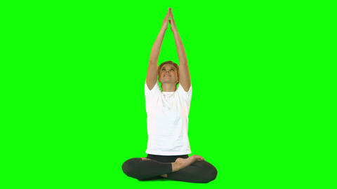 Calm Woman Sitting On Floor In Lotus Position stock footage