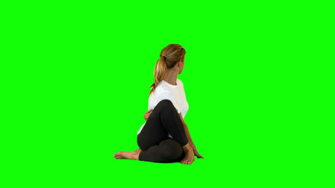 Young Woman Stretching Her Back stock footage