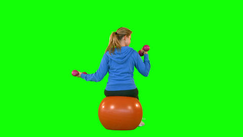 Rear View Of Fit Woman With Dumbbell Sitting On Ex stock footage